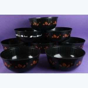 8 NEW Black Halloween Plastic Bowls TRICK OR TREAT